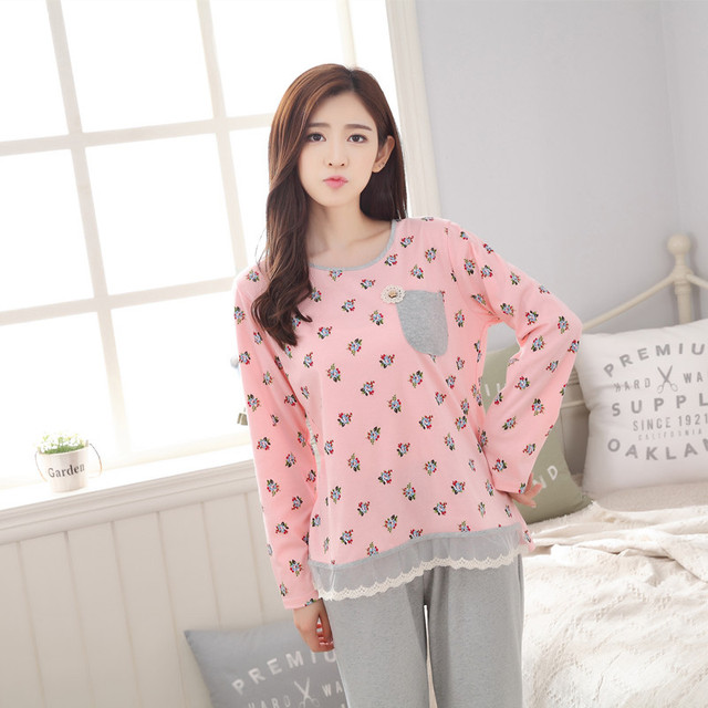 Tinyear Plus size pajamas round neck nightwear big size Sleepwear Winter Pajama set Women Female Pajamas Cotton material
