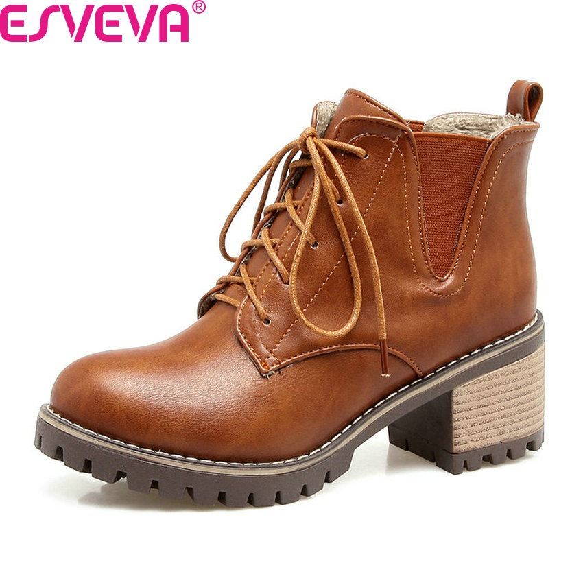 ESVEVA 2018 Women Boots Platform Autumn Ankle Boots Square High Heel Lace Up Round Toe British Style Ladies Boots Size 34-43 esveva 2017 women fashion boots pu punk shoes square high heel ankle boots round toe women platform motorcycle boots size 34 42