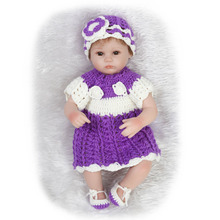 Nicery 18inch 45cm Reborn Baby Doll Magnetic Mouth Soft Silicone Lifelike Girl Toy Gift for Children White purple Sweater Open