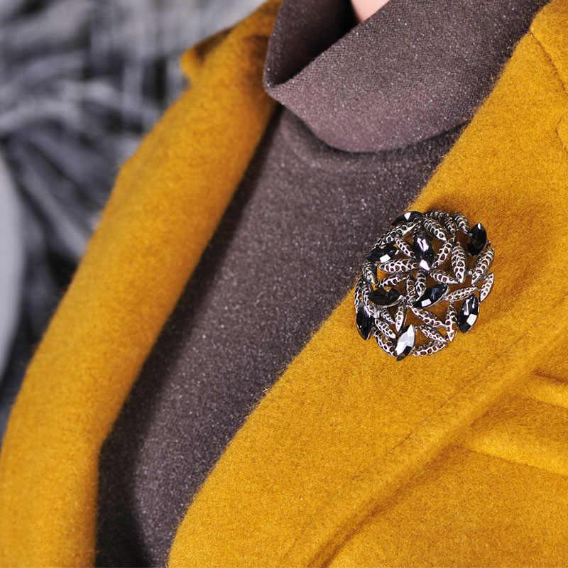FUNMOR винтажная черная брошь из горного хрусталя с круглой полой брошью для женщин на праздник, украшение для платья с отворотами, металлические листья из сплава, булавки и броши