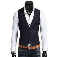 New Arrival  Cotton Suit Vest Men  Fashion Slim Fitness Men's Waistcoat  Blazer Tops Dress Vests For Men