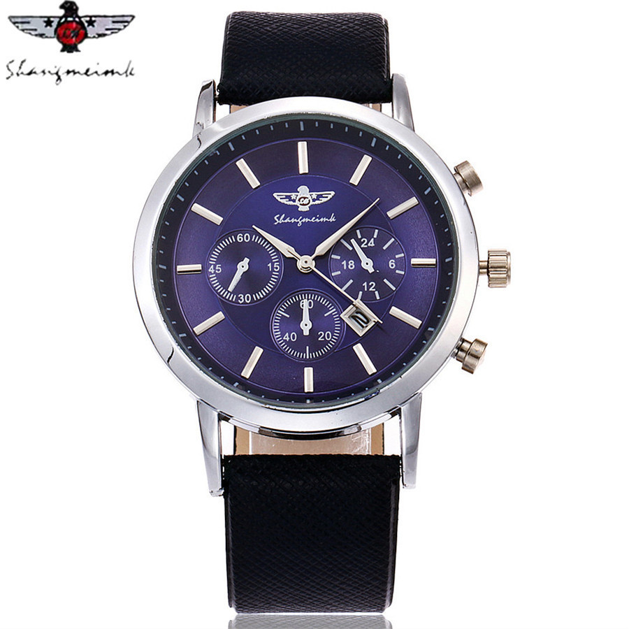 SHANGMEIMK Brand Men Watch Luxury Fashion Calendar Business Watch Casual Leather Strap Quartz Wristwatches Relogio Masculino Hot 2