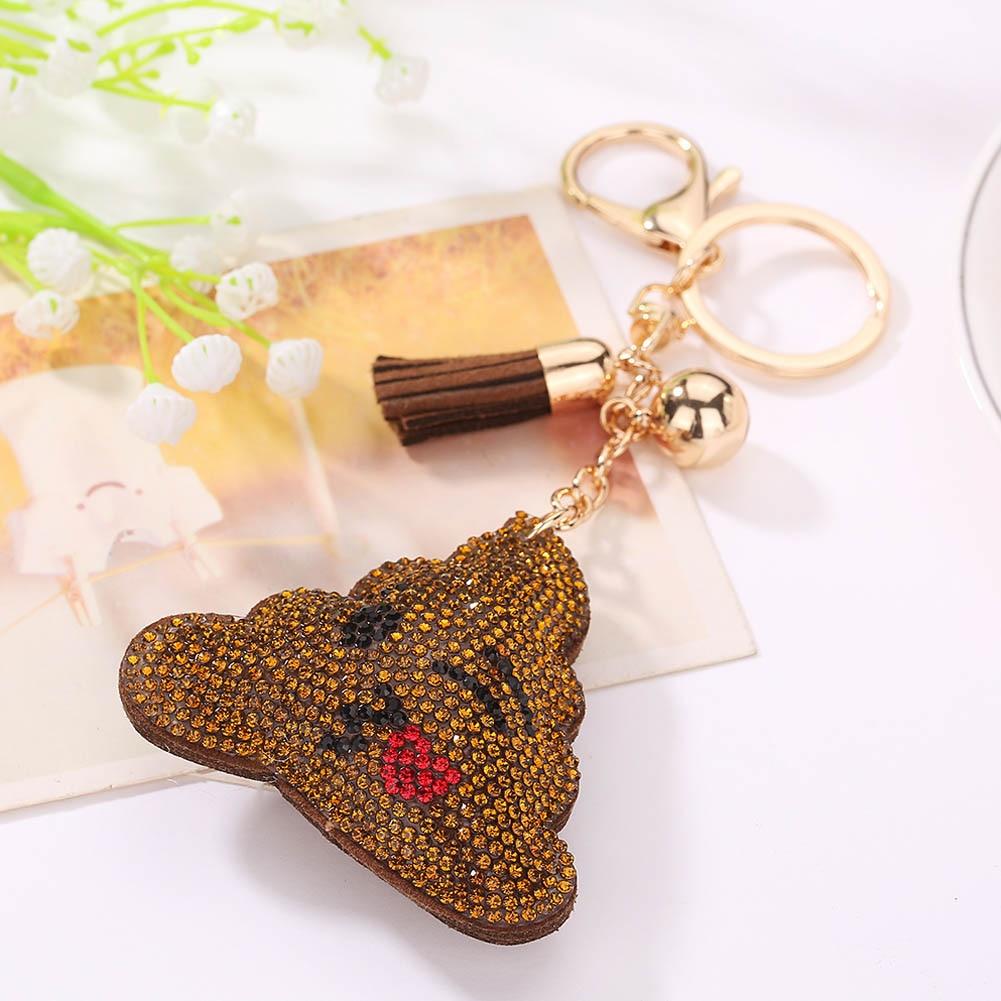 1PC Fashion Emoji Emoticon Poo Design Crystal Rhinestone Pendant Keychain Keyring Toy Gifts