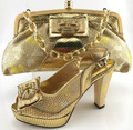 Italy Design Women Wedding  Luxury Gold shoe and Bag Set Party Dress High Heels  African Shoes And Matching Bag MM6609