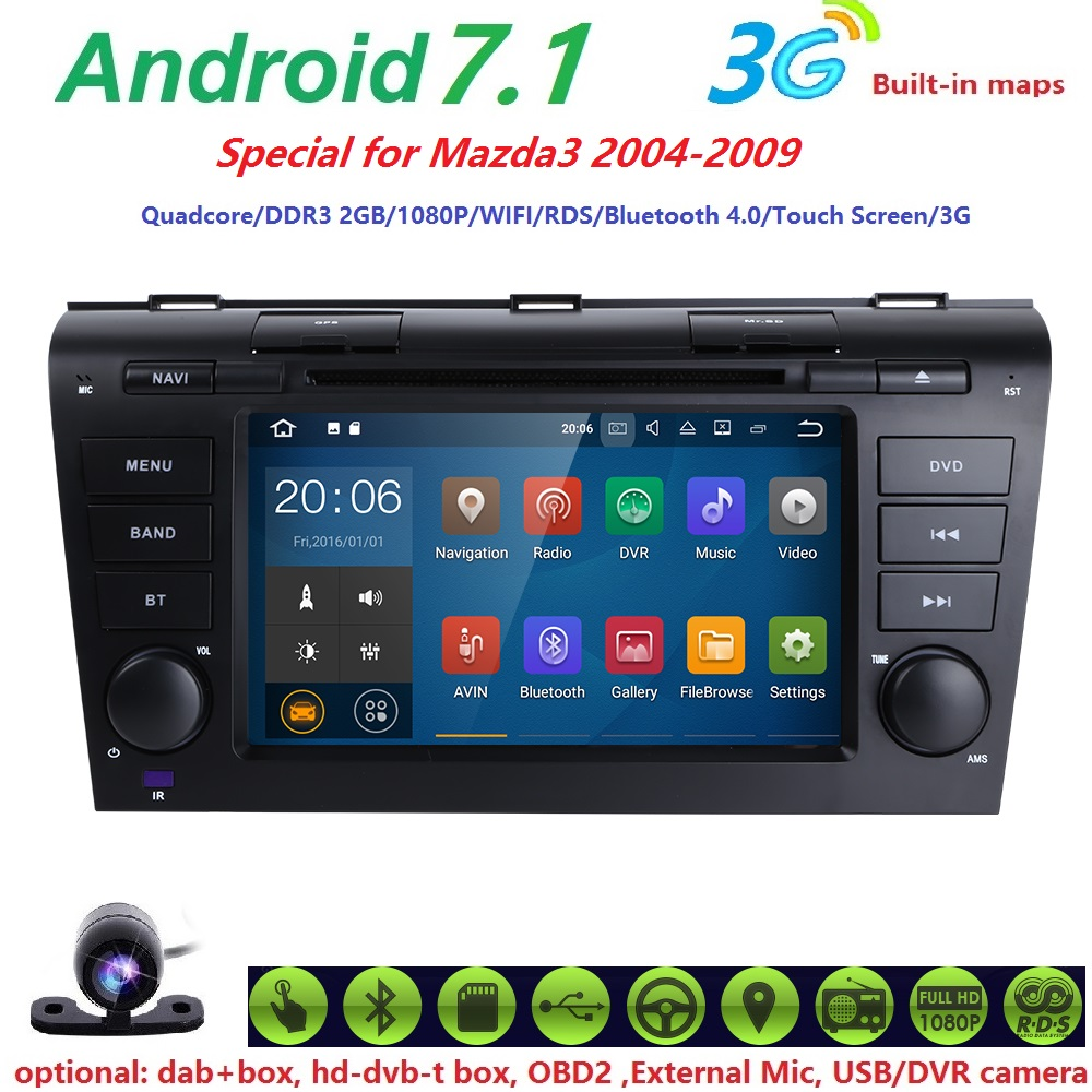 Aliexpress com buy android 7 1 os car dvd player fit mazda 3 gps navigation 2din steering wheel 1024 600 quad core 3g radio wifi bluetooth tv from