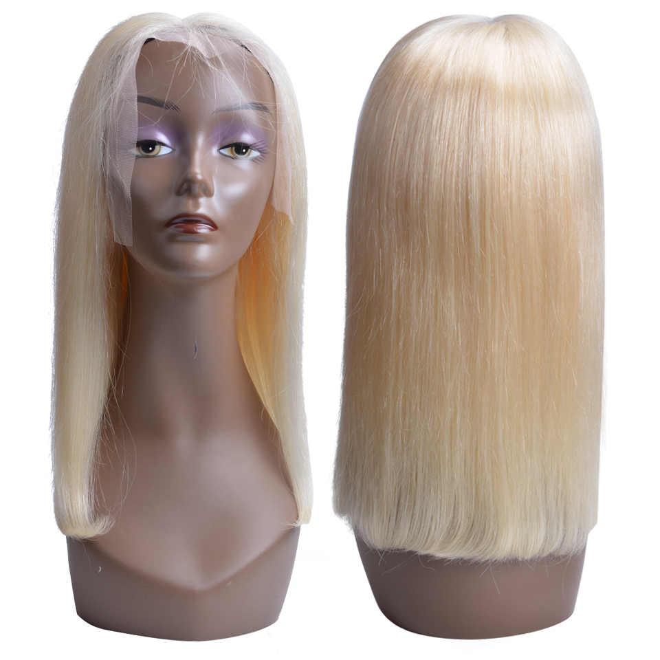 613 блонд бразильские прямые человеческие волосы боб парики Remy Короткие 13*4 Кружева передние парики для черных женщин