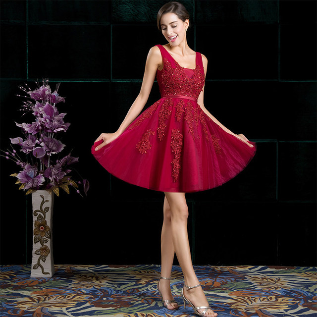 Short Evening Dress SSYFashion Hot Sale Sexy V-neck Lace A-line Party Gown Formal Dress Custom Homecoming Dresses Robe De Soiree