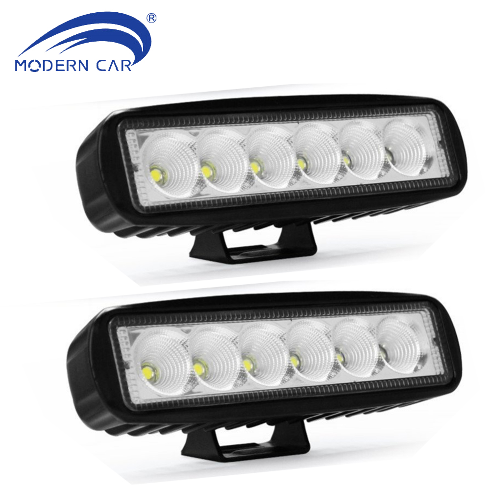 MODERN CAR 2pcs 18W 6 inch Flood Driving Light Offroad Light Boats Lights Fog Lamps Led Work Lights Waterproof for Jeeps SUV ATV 22 inch led bar offroad 120w led light bar off road 4x4 fog work lights for trucks tractor atv spot flood combo led lightbars