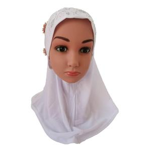 Image 2 - One Piece Amira Hijab Muslim Kids Girls Hijabs Flower Head Scarf Shawl Wrap Islamic Hat Prayer Headscarf Arab Headwear Cap Hijab
