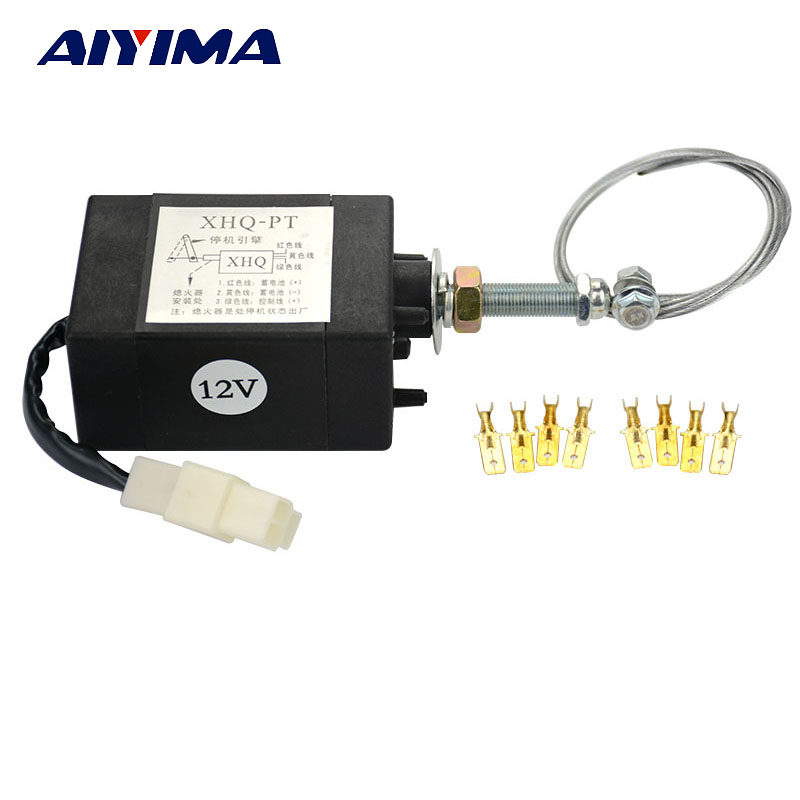 AIYIMA 1 pcs Diesel Engine Flame Out Device Engine Stop Solenoid XHQ-PT 12V