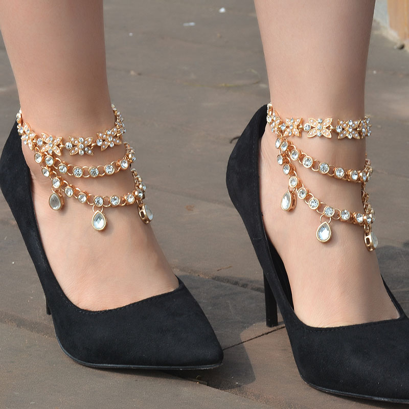 Summer New Sexy Fashion Water Drop Shiny Rhinestone Crystal Anklets for Women Foot Jewelry Ankle High Heel Barefoot Beach XR765