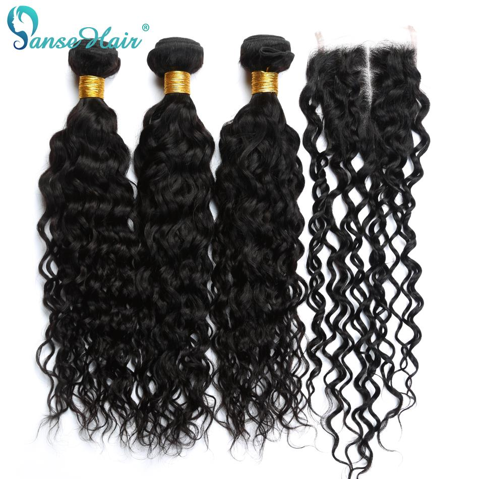 Panse Hair Brazilian Human Hair Water Wave 3 Bundles With Closure Can Buy Non Remy Natural Black Hair 100% Human Hair Bundles