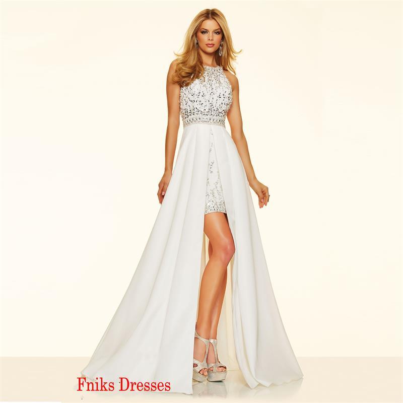 2016 High Low Split Front Vintage Long White Crystal Prom Dresses ...