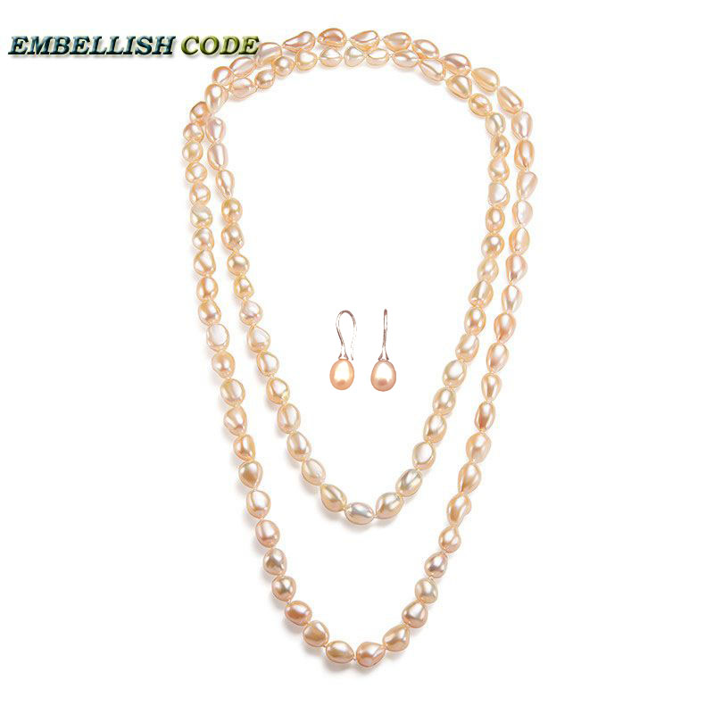 Sweater chain sheen semi baroque long necklace triple 120cm hook dangle earring set freshwater pearls pink peach orange color