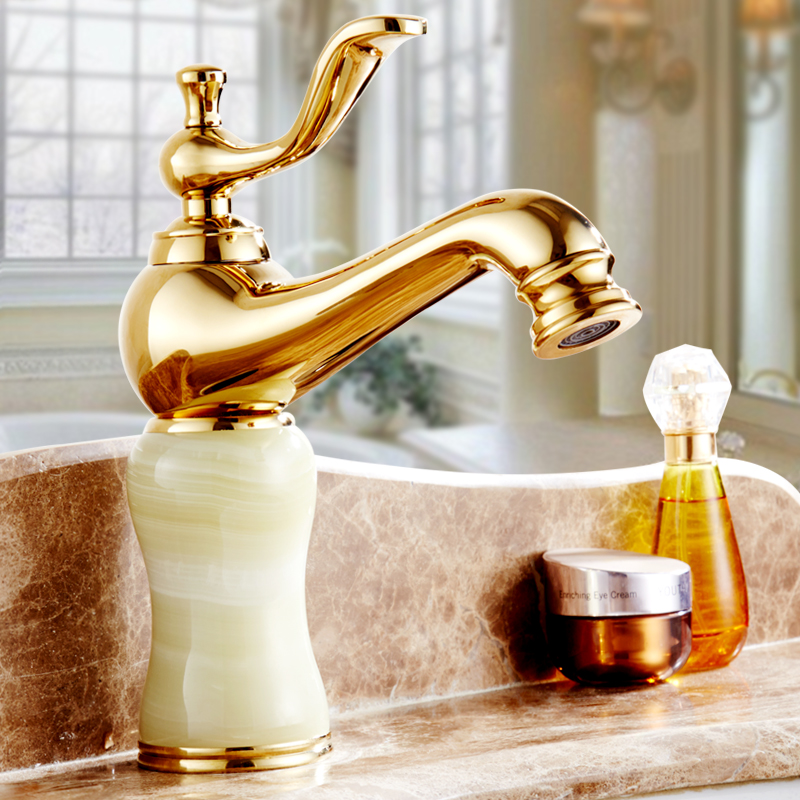 Antique European kitchen sink faucets water mixer tap, Bathroom jade basin faucet golden, Brass toilet basin faucet cold and hot single handle bathroom faucet basin carving tap swivel sink water tap antique brass hot and cold kitchen mixer faucet with hose