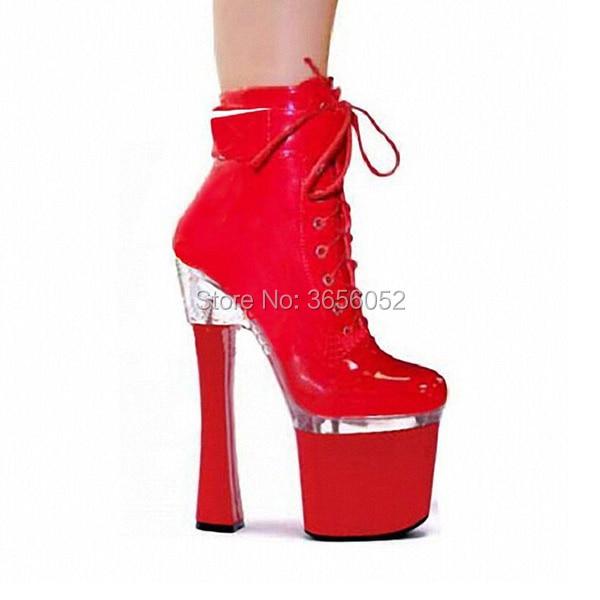Pic as Talons As Super Sexy En De Chaussures Danse Cm Rouge Qianruiti Noir Femmes Cuir Plate Pic Courte forme Bottes 18 Dames Haute Fétiche Piste Blanc Verni aqSSf4
