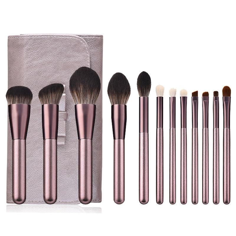 12pcs Small Purple Grape Makeup Brushes Set Wooden Handle Eye Shadow Foundation Concealer Powder Make Up Brush Kit Beauty Tools