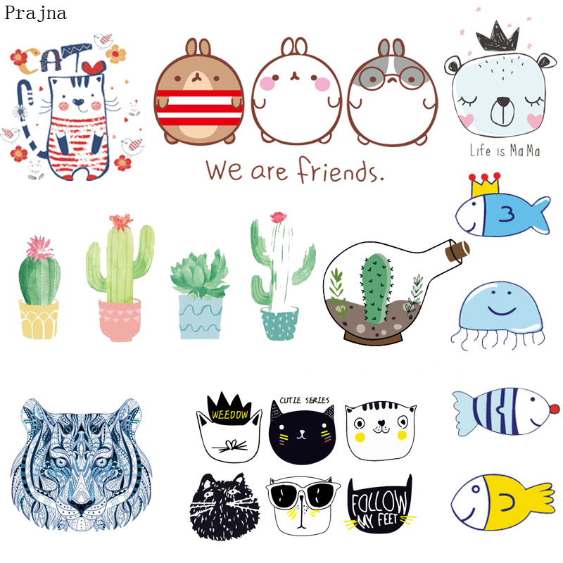 graphic relating to Printable Patches named US $0.82 25% OFFPrajna Cactus Cat Patch Applique Cartoon Iron Move Warm Go Vinyl Sticker Printable Iron Upon Transfers For Small children Apparel-within