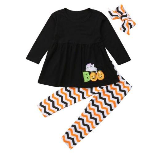 Baby Girl Clothing Long Sleeve Tops Dress Stripe Pants Headband 3pcs Outfits Set Cute Newborn Kids Baby Girl Halloween 2-7T