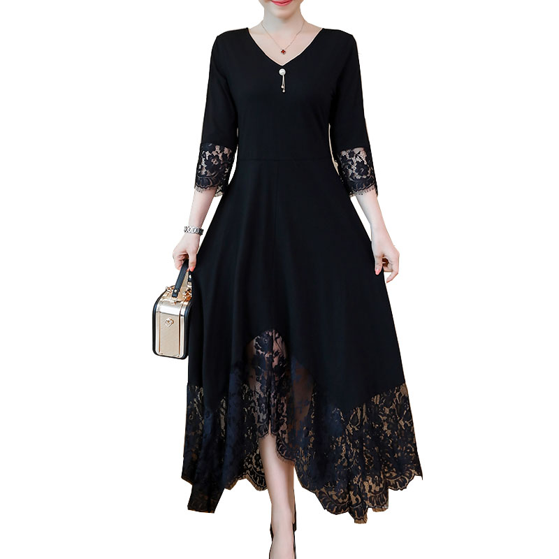 Black Fall Dresses For Women Elegant Plus Size Lace Stitching Dress Half Sleeve Lace-Up Back Long Party Dress 5XL Vestidos Longo