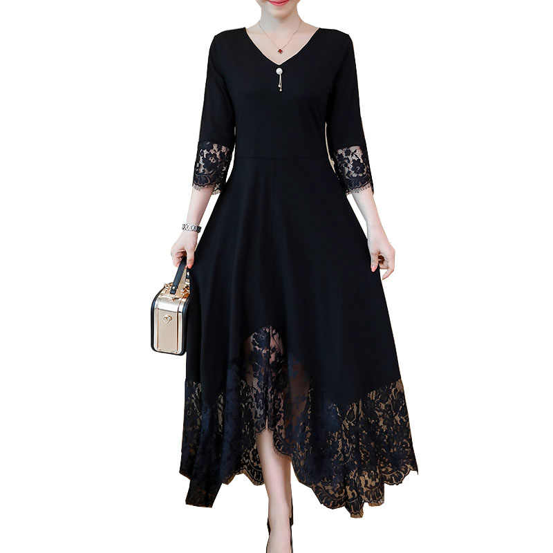 Black Fall Dresses For Women Elegant Plus Size Lace Stitching Dress Half  Sleeve Lace-Up bdbc2eadf636