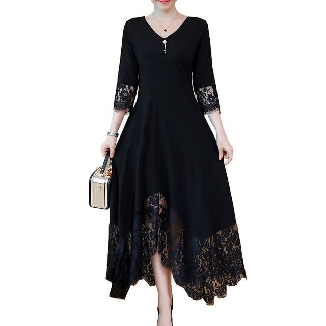 358b2340258a En venta Vestidos de otoño negro para mujeres elegante más el tamaño ...