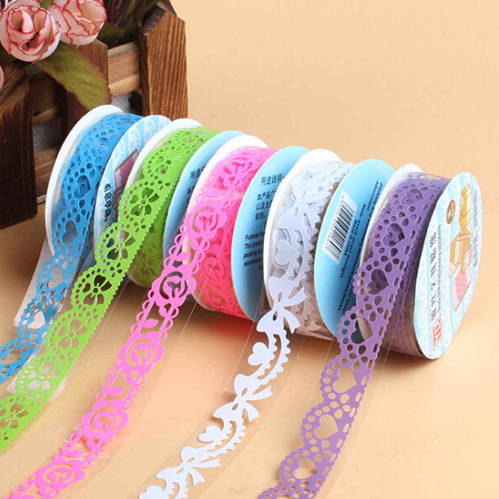 1 Pcs DIY Candy Colors Hot Lace Tape Decoration Roll Decorative Sticky Paper Masking Tape Self Adhesive Tape Color Random multi color 1 roll 20m marking tape 100mm adhesive tape warning marker pvc tape