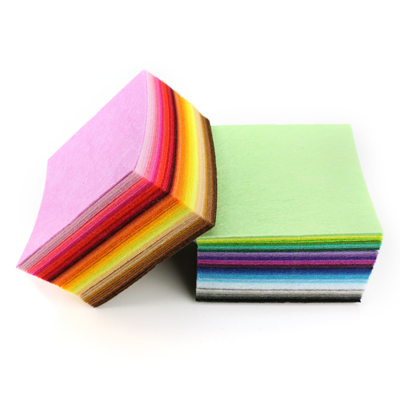 Mix 88 Colors Non Woven Felt Fabric DIY Polyester Cloth Felts With Thread DIY Bundle For Sewing Crafts 1mm Thickness 10*10CM 2