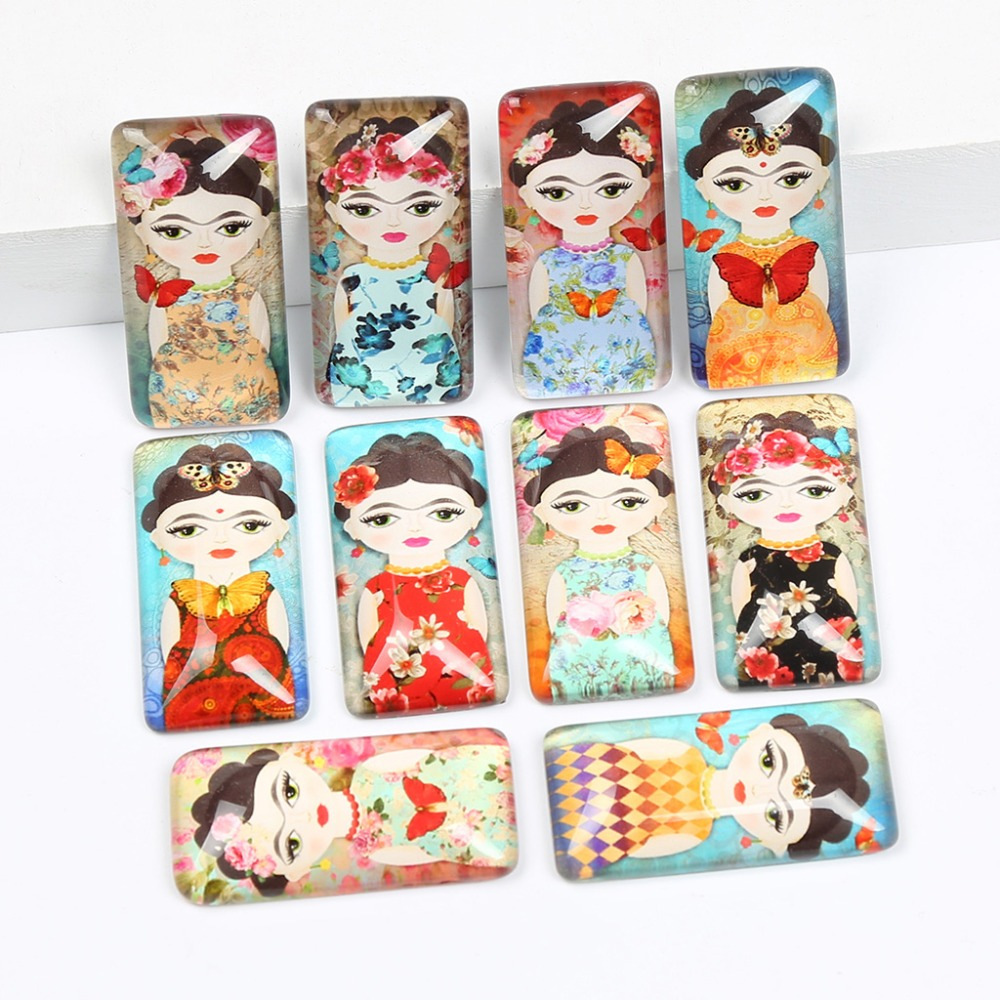 reidgaller 10pcs mix frida photo rectangle glass cabochon 19x38mm diy flat back handmade jewelry findings for pendant necklace 2 in 1 bright led flashlight telescopic magnetic pick up tool portable work light tactical flashlight bar light combination