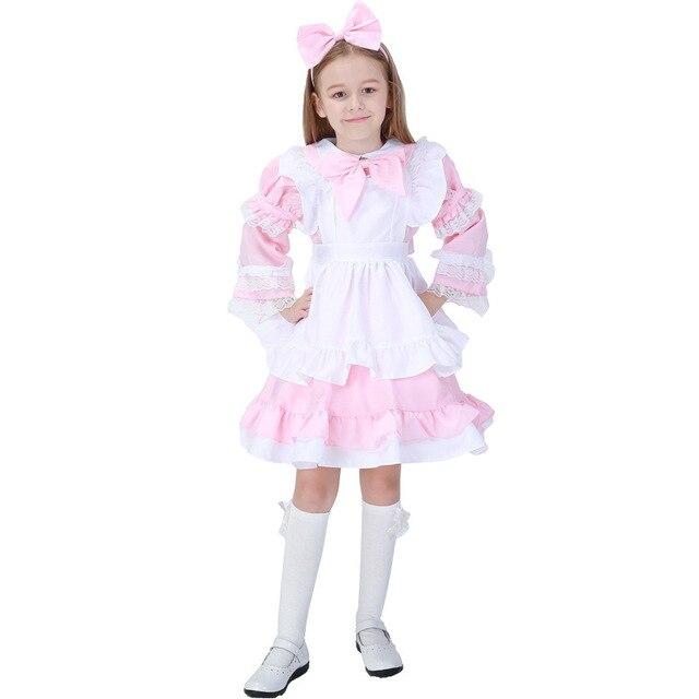 5c9ad0df293e4 Rose Couleur Lolita Petite Robe Maid Épaisse Et Désordonnée Princesse Cos  Fille Enfant Enfants Vêtement de