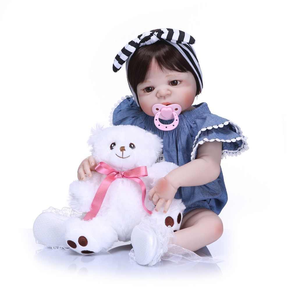 NPK 57cm Full Silicone Body Reborn Baby Doll Realistic Handmade Vinyl Adorable Lifelike Toddler Bebe Truly Kids Playmates Toys