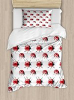 Watercolor Duvet Cover Set Lady Bug Pattern Cute Animal Design Insect Ornamental Spring Image Vermilion Black White