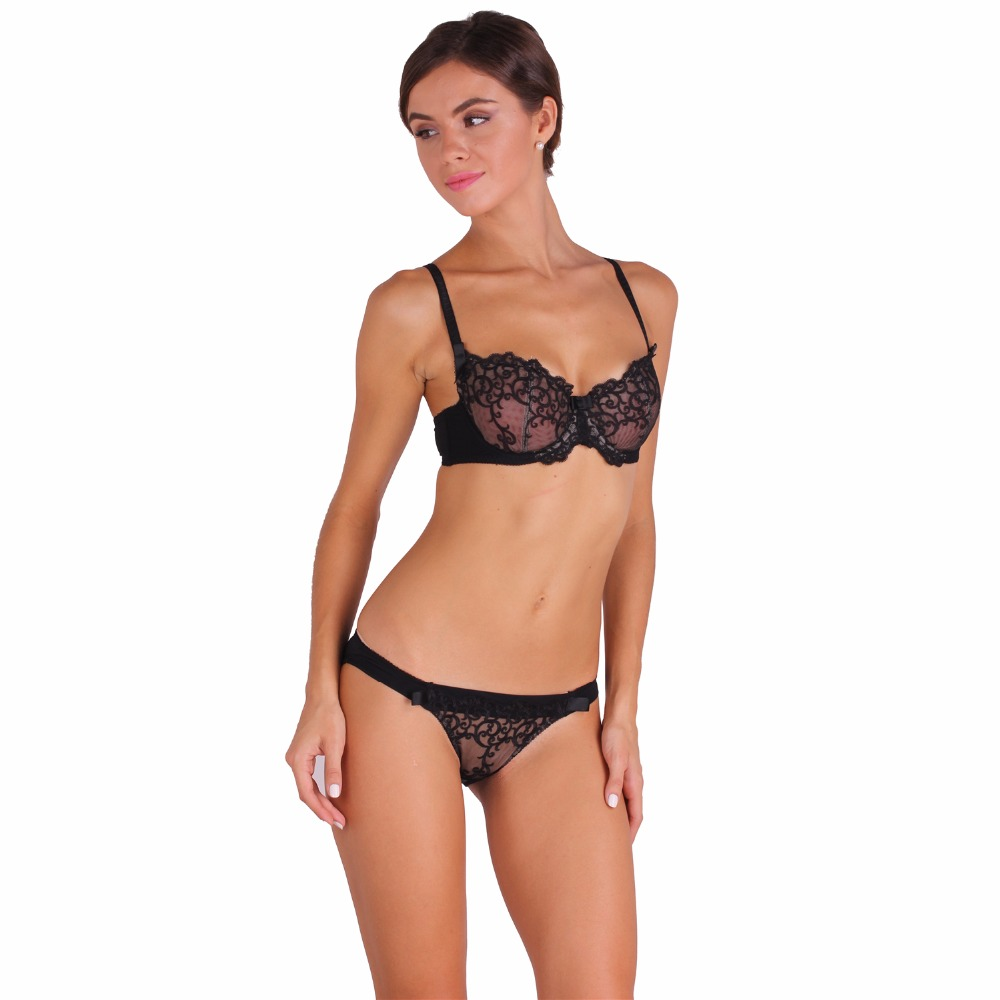 2017 Fashion New Women L&K Free shipping Summer sexy transparent lingerie lace embroidery C D E Cup Black bra suit