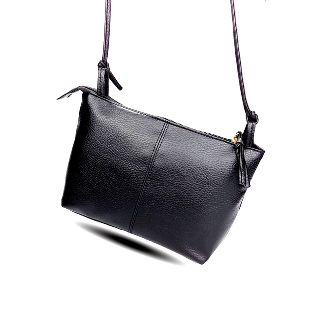 8c56162165 2018 New Fashion Black Soild Small Women Messenger Bag Designer Handbags  Girls Purses Leather Crossbody Brand