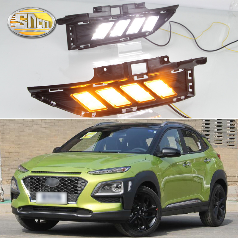 SNCN LED Daytime Running Light For Hyundai Kona 2018 2019 Yellow Turn Signal Relay Waterproof ABS 12V DRL Fog Lamp Decoration waterproof style relay 12v led drl daytime running lights for hyundai ix35 daytime running light led drl fog lamps tucson 2013
