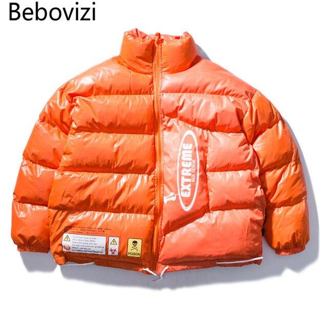 Best Price Bebovizi Brand Mens Winter Jackets and Coats 2018 Hip Hop Zipper Pockets Thick Jackets Fashion Casual Streetwear Orange Clothes