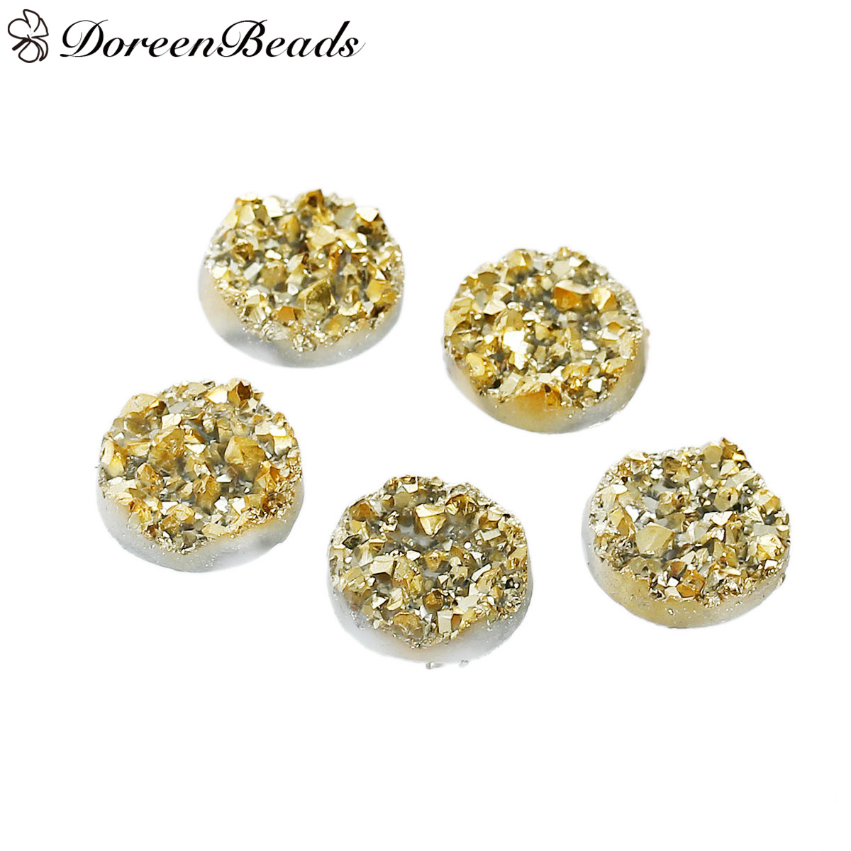 DoreenBeads Resin drusy Dome Seals Cabochon Round gold color 12mm( 4/8) Dia, 50 PCs image