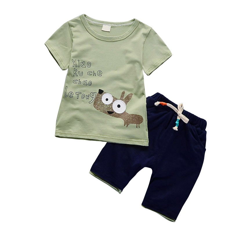 Popular And Cool Baby Boys Sets With Cartoon Print And Short Sleeveless Comfortable For Dressing In Summer
