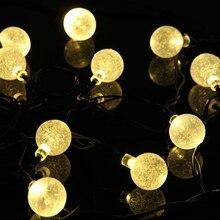 Lámparas solares 4.8 M 20 Led luz de la Bola de Cristal Colorido Impermeable Blanco Cálido luz de hadas de la Decoración Del Jardín Al Aire Libre solar led cadena