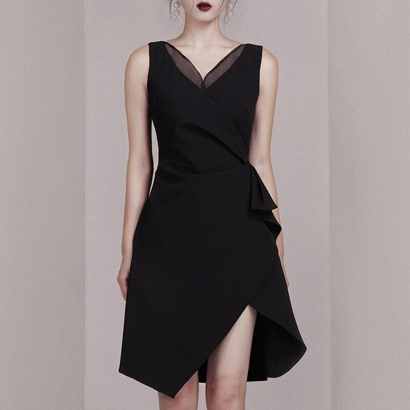 INDRESSME 2019 新しい女性はセクシーなディープ V ネックノースリーブ非対称裾ミニドレスレディーパーティークラブドレス  グループ上の レディース衣服 からの ドレス の中 2