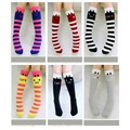 2016 Hot Baby Girls  Cat Stripes Knee High Socks Personality Cartoon Stockings Cotton Wild Kids Girl Socks Knee High Socking
