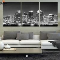3 Piece Wall Art The Most Beautiful City Night View Modern Picture Set Home Decor On