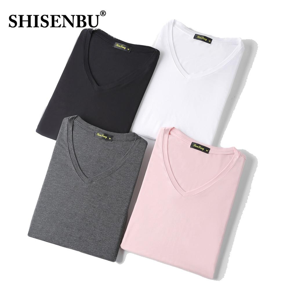 Summer Fashion V-Neck Casual T-shirt Loose Pink Black Fitness 95% Bamboo Fiber Comfortable Short Sleeve Tees Mens T Shirts Men