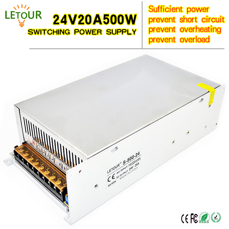 24V 20A Power Supply Adapter AC 96V-240V Transformer DC 24V 500W LED Driver AC-DC Switching Power Supply for LED Strip Motor 18v10a dc power supply motor adapter ac110v 220v transformer 18v 180w led driver ac dc switching power supply ce fcc cert