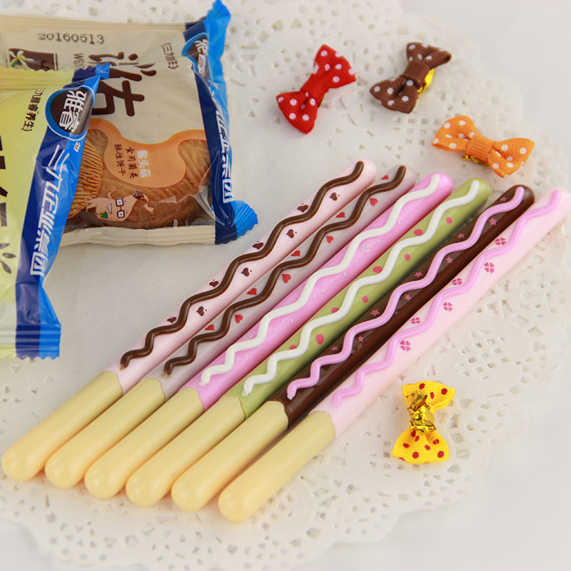 3PCS Korean Cute Kawaii Chocolate Cake Gel Pen Set for Writing Office School Supplies Stationery for Kids Student Gift 10pcs multicolor gel pens set cute korean stationery pen for school office supplies writing with packaged box by free shipping