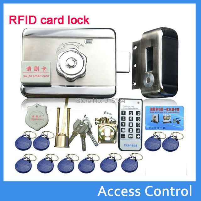 free shipping electronic lock diy kit DC-12V integrated RFID card electronic door locks reading&rotating open +access EM4100 tag