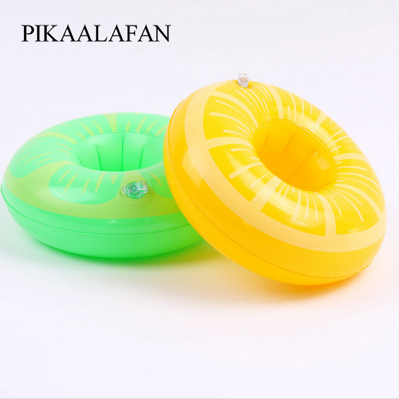 Pikaalafan Pvc Inflatable Fruit Water Cup Holder Inflatable Water Floating Drink Cup Yellow Green Lemon Cup Holder Pool Toys