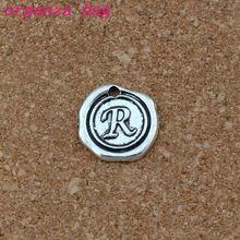 Single side Letter R Alphabet Initial alloy Charms 100pcs/lots Antique Silver Pendants Fashion Jewelry DIY 18x18.5MM A-455