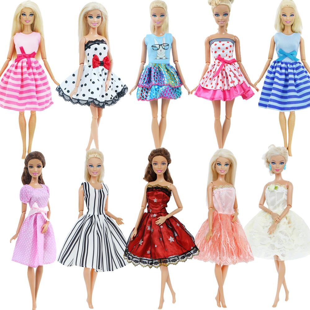 1x Lovely Summer Mini Dress Doll Skirt Daily Casual Strap Strapless Party Gown Clothes For Barbie Doll Accessories Kid Girl Toy