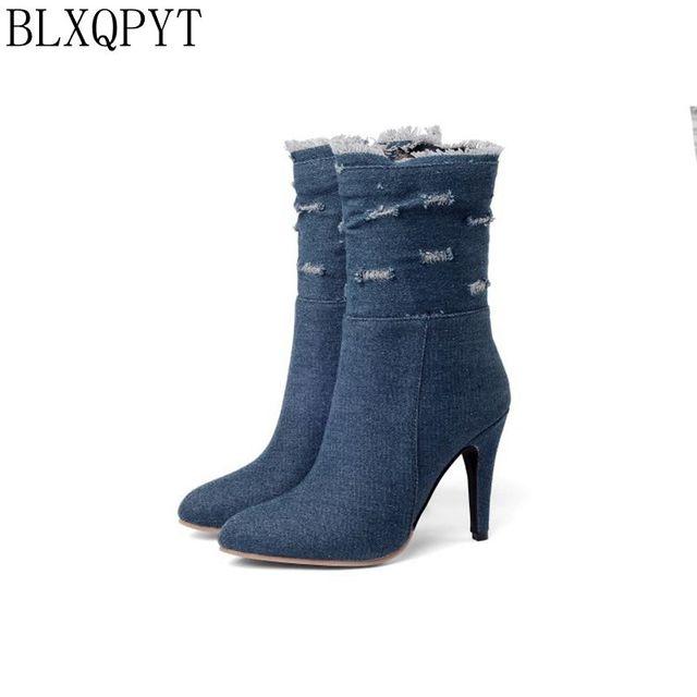 BLXQPYT زائد كبيرة وصغيرة الحجم 28 50 الدنيم التمهيد قصيرة أشار تو المرأة الخريف الشتاء عالية الكعب أحذية الزفاف امرأة Y72